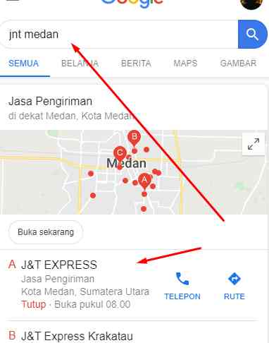 cara mencari jnt alamat